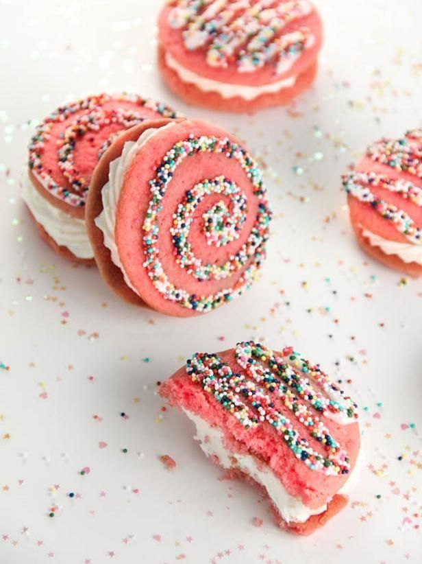These pretty pink pies are full of strawberry flavor. Use gold or silver sanding sugar in place of the multicolor nonpareils for a fancy presentation.