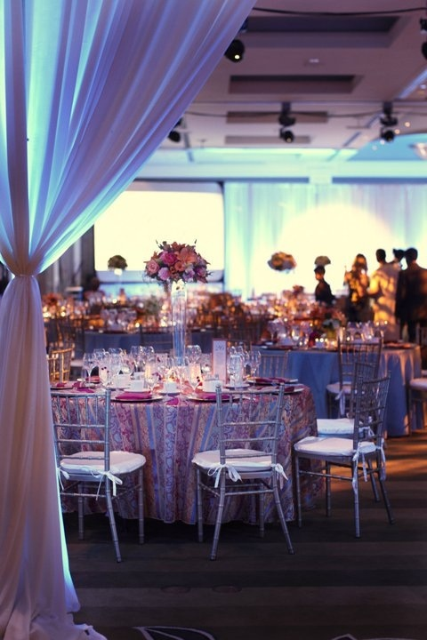 Indian wedding decor with pops of brights.    OneWest Evenst Inc.