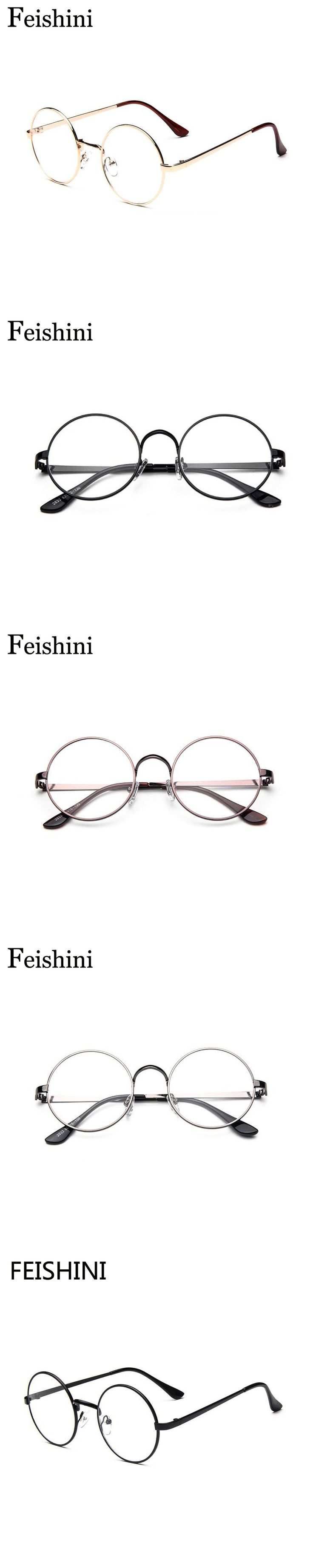 FEISHINI Classic euramerican alloy Round Eyeglasses Frames For Women Vintage Star style HD visual Round Eye Glasses Frames Men