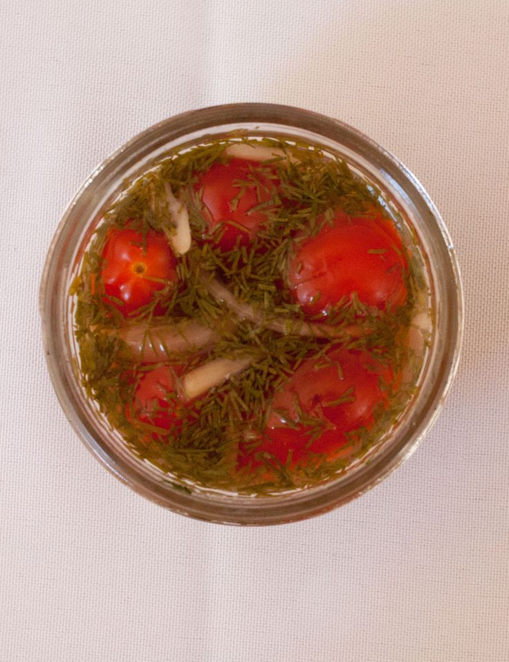 Dilly tomatoes The dad: Hugh Acheson, James Beard Award–winning chef and host of Bravo's Top Chef 1 1/2 cups small grape or cherry tomatoes1 shallot, peeled, thinly sliced1 bay leaf4 Tbsp fresh dill, chopped1/2 Tbsp yellow mustard seeds1 Tbsp kosher salt1/2 tsp citric acidPinch of red chili flakes1 Tbsp light brown sugar1/2 cup cider vinegar Using a very sharp paring knife, score tomatoes on the bottom of each with a shallow X. Place tomatoes in a bowl and add shallot, bay leaf, dill, and…
