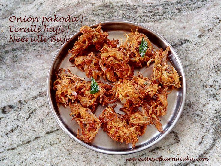 Onion pakoda or Eerulli bajji recipe explained with step by step pictures. Onion pakoda or eerulli bajji is prepared using onion, gram flour, rice flour, red chilli powder, curry leaves, carom seeds and asafoetida. Onion pakoda or eerulli bajji are deep fried onion fritters.