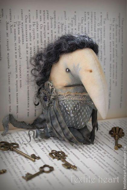 Коллекционные куклы ручной работы. Ярмарка Мастеров - ручная работа. Купить Алконост.... Handmade. Темно-серый, монстрики, страшные куклы