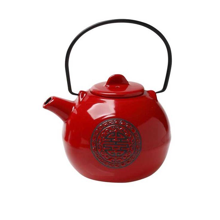 Τσαγιέρα με φιλτρο κεραμική κόκκινη