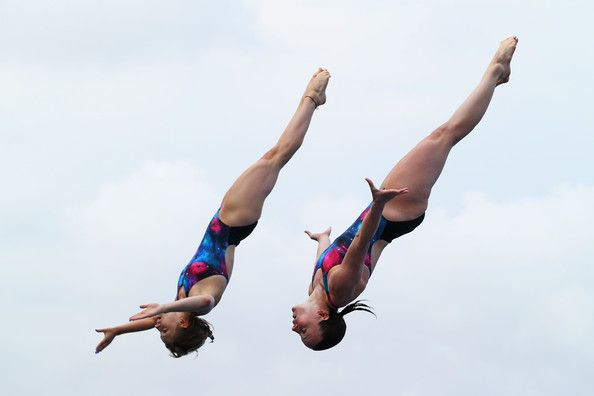 Rebecca Gallantree and Alicia Blagg of Great Britain compete in the Women's 3m Springboard Synchronised Diving final on day one of the 15th FINA World Championships at Piscina Municipal de Montjuic on July 20, 2013 in Barcelona, Spain.