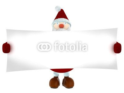3D render of Santa Claus holding a big white paper