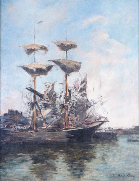 Eugène Boudin (1824-1898), Voiliers à quai, huile sur panneau, 27,6 x 22 cm. Estimation : 40 000/45 000 € Samedi 15 juillet, Honfleur.  Honfleur Enchères OVV.