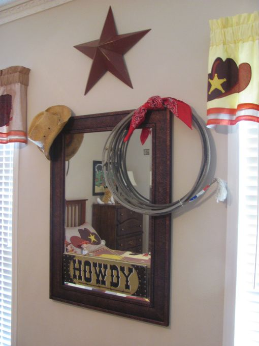 """Western, Texas, Ranch Room, This is my 3 year old grandsons room. My house has a western/southwestern decor therefore a little buckaroo room is perfect for him., Found a really cute """"howdy"""" sign at Hobby Lobby. Cowboy hat and real used rodeo lariat hang on mirror.   , Boys Rooms Design"""