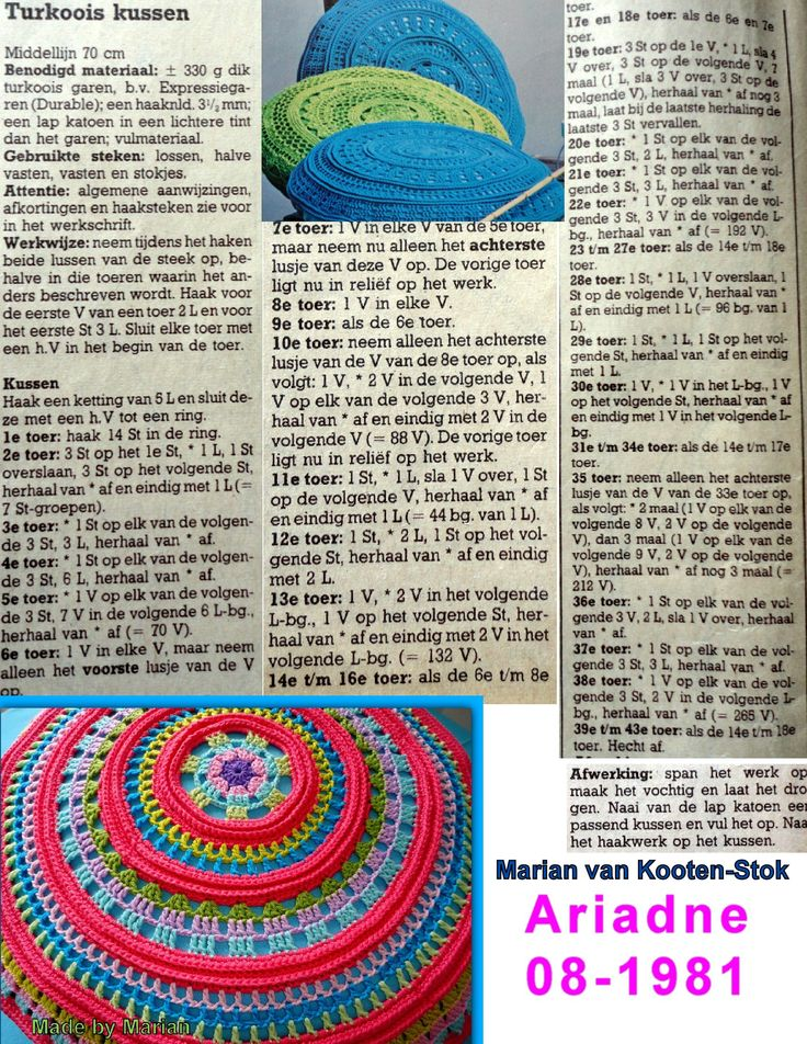 The pattern is from Ariadne from 1981 (!) In other colors it is again a pillow from now!