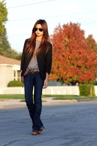 Perfect blazer outfit...low rise flare or boot cut