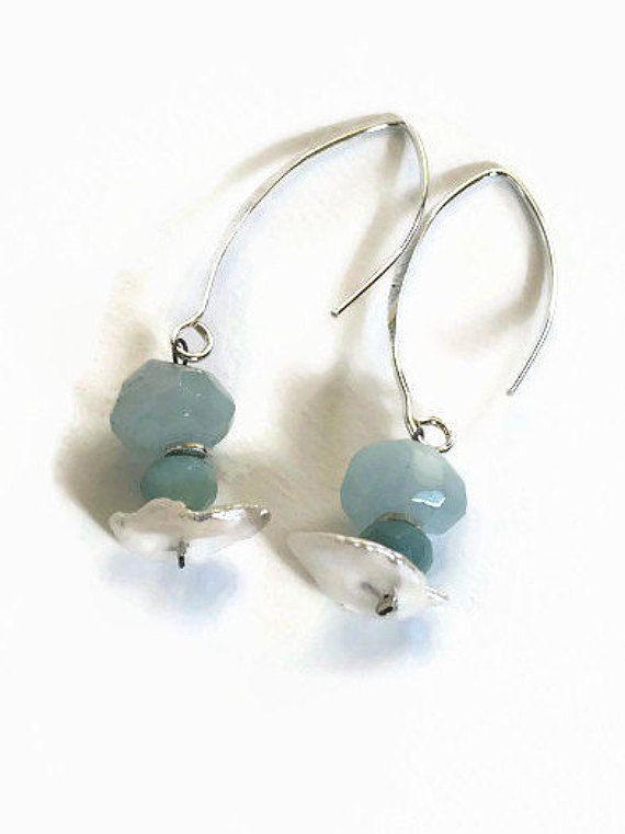 blauw zilver oorbellen handgemaakt hangende door FlorenceJewelshop