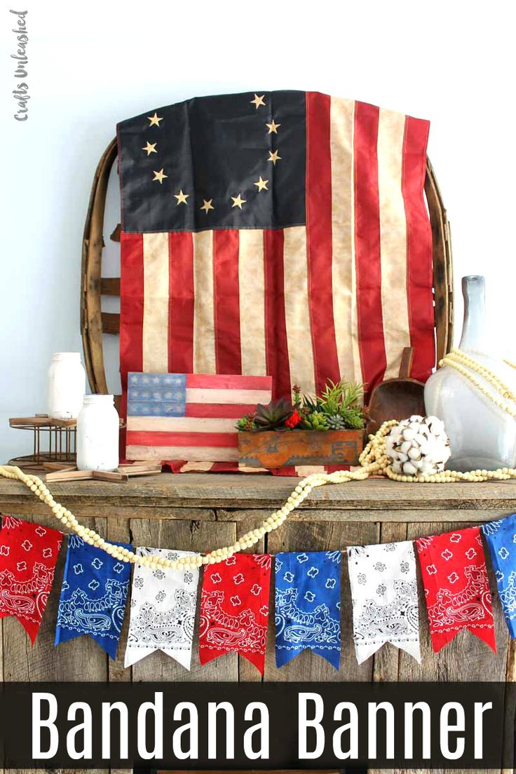 Make this patriotic DIY bandana banner to add a little Americana to your home this summer. It
