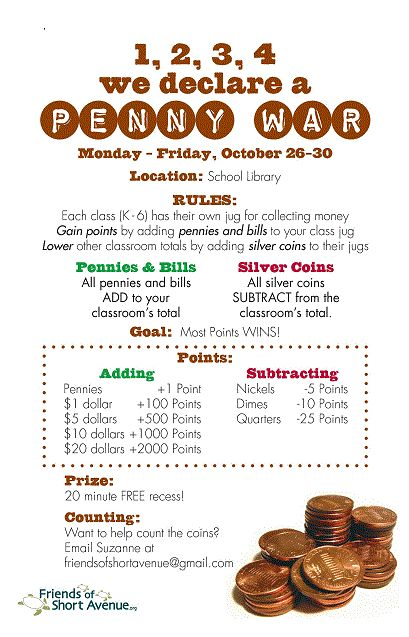 Let the Penny War commence! In our penny war, each classroom tries to win this fundraising competition. Each room has a jar for collecting coins or dollar bills. The value of any pennies and bills …