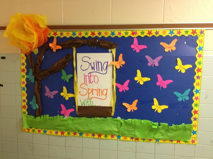 spring bulletin board ideas swing into bulletin board swings 5470