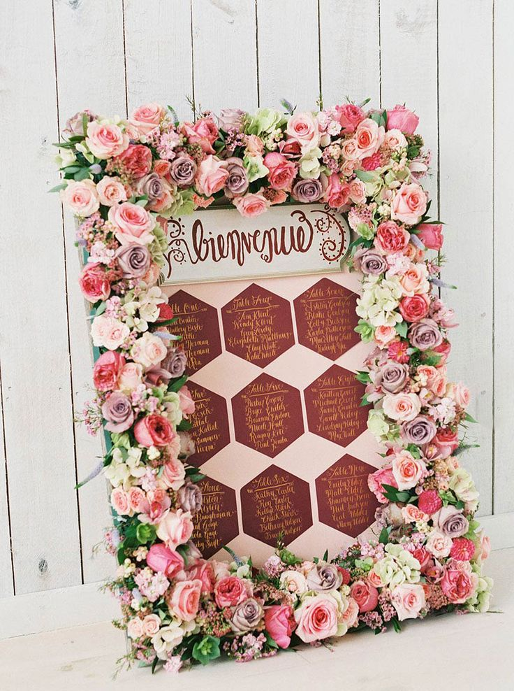 Think PINK! Floral design by Query Events. Calligraphy by Cleggraphy Designs. Photography by Tracy Enoch Photography. #placecarddisplay #placecard #calligraphy