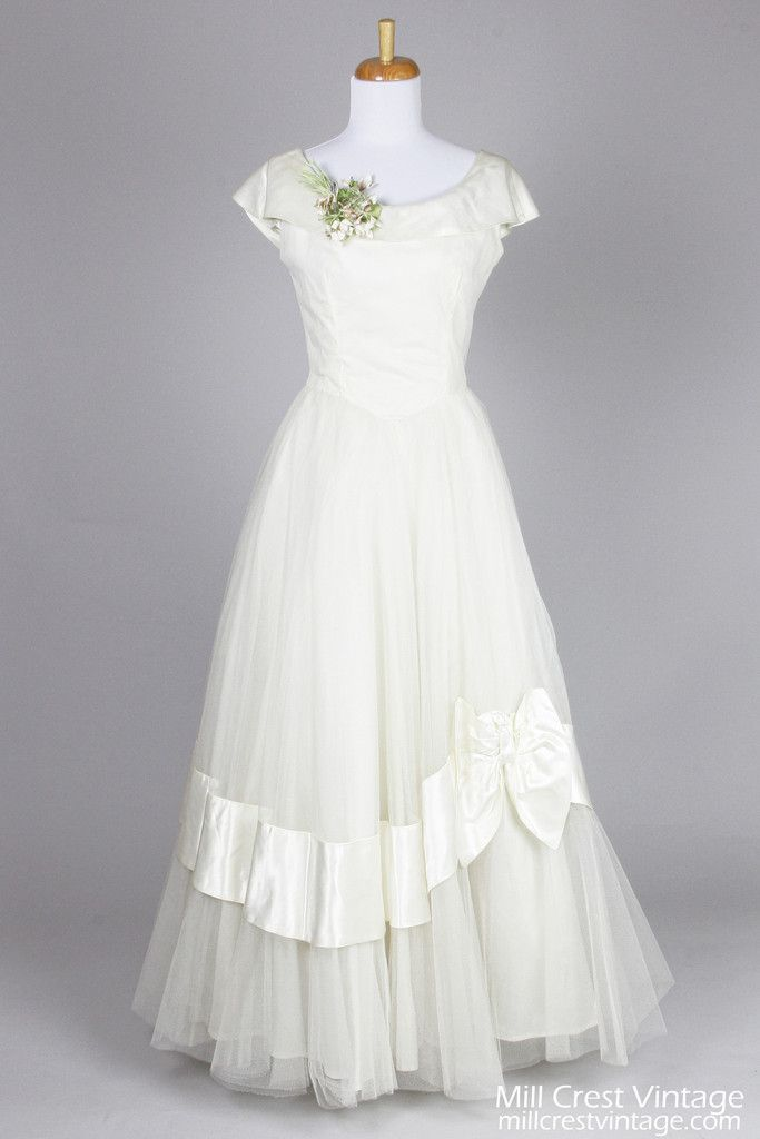 1950 Ivory Satin and Tulle Vintage Wedding Gown is perfect for a winter wedding