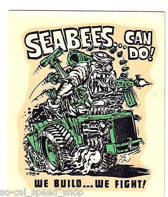 Original Vintage Ed Roth Decal 1966 Navy Seabees Usn Hot