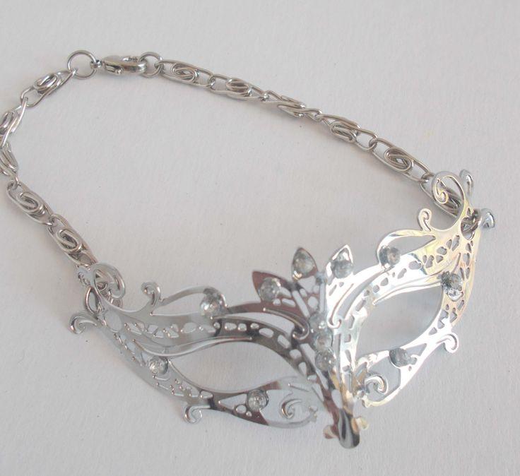 masquerade mask bracelet, rhinestone mask curved sideways, unisex, trendy jewelry, fifty shades of grey, mardi gras bracelet by mademeathens #valentines #mardigras  SOLD