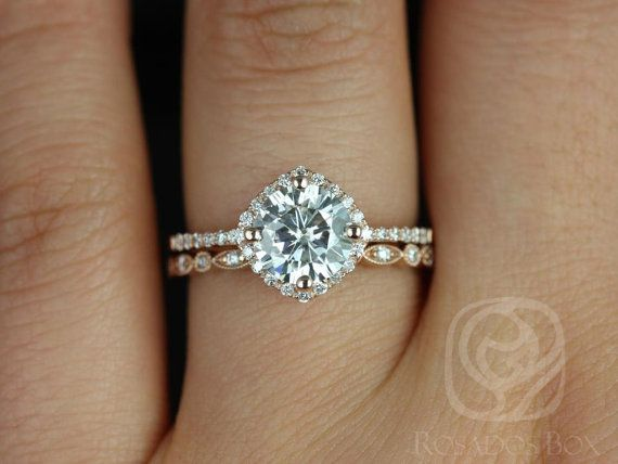 Kitana 7mm & Ultra Petite Bead Eye 14kt FB Moissanite and Diamonds Cushion Halo Wedding Set (Other metals and stones available)