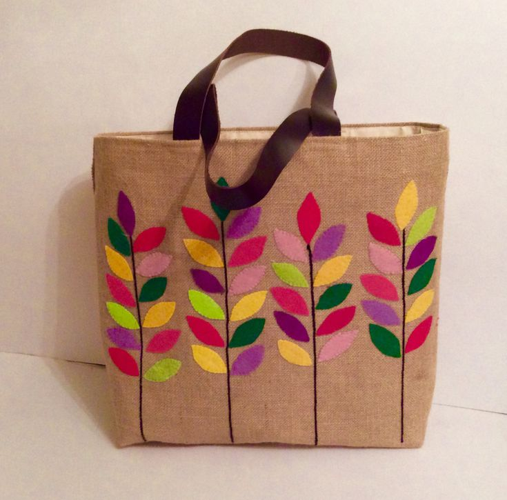 Colorful leaves branches, summer tote bag,appliqué, embroidered, handmade Jute tote bag,beach tote bag, handmade tote bag, Casual Tote Bag by Apopsis on Etsy