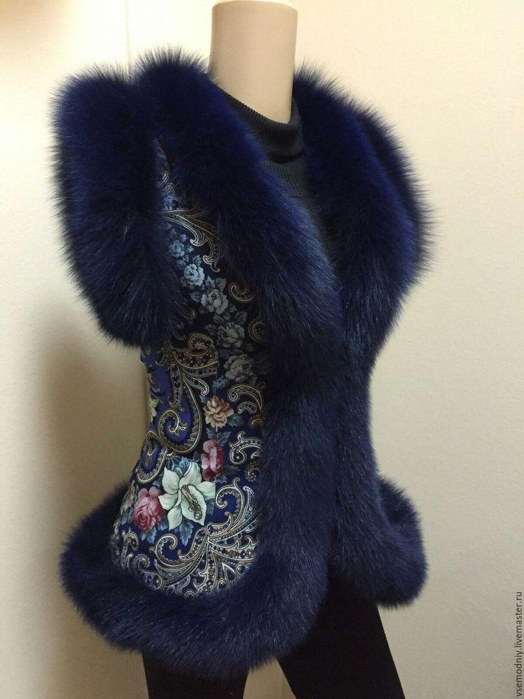 Купить Жилет из платка с синем песцом - жилет из платка, женская жилетка, меховая жилетка