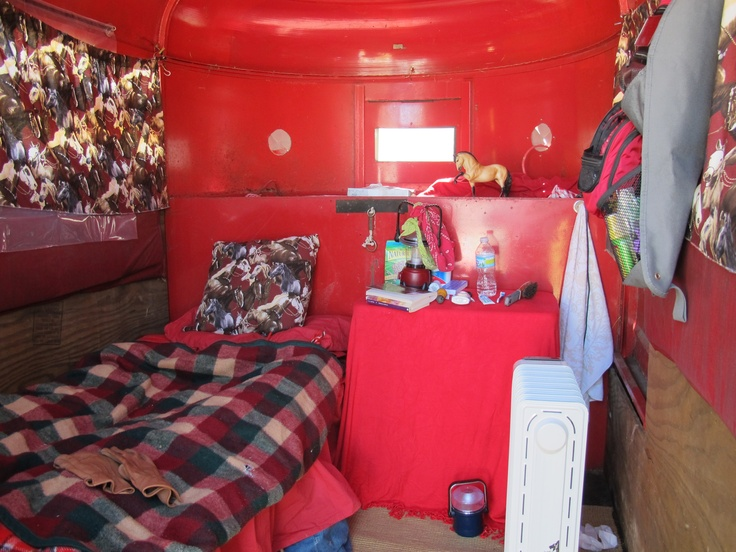 Camping in a two horse stock trailer. Pretty comfy!