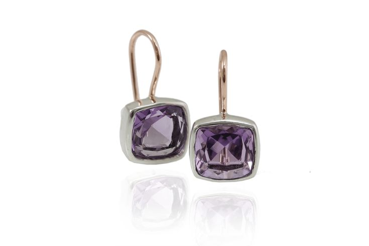 Amethyst Earrings by Scarab Jewellery Studio - The Amethyst birthstone is the colour of royalty - considered valuable since ancient times. In the Middle Ages, it was considered a symbol of royalty and was used to decorate English regalia.