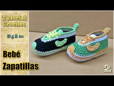 getlinkyoutube.com-Zapatitos para bebé a crochet, talle 10 y 11 cm - Paso a paso - 2de2