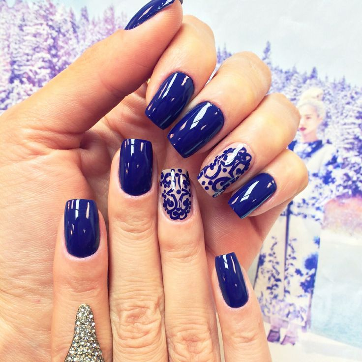 Blue and lace nails