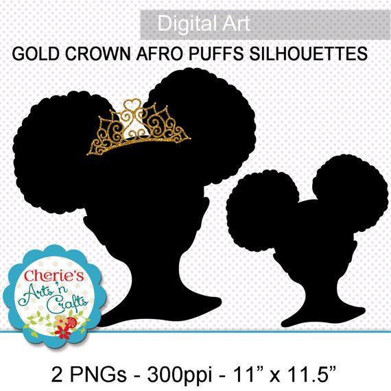 Afro Puffs Little Girl With Gold Crown By