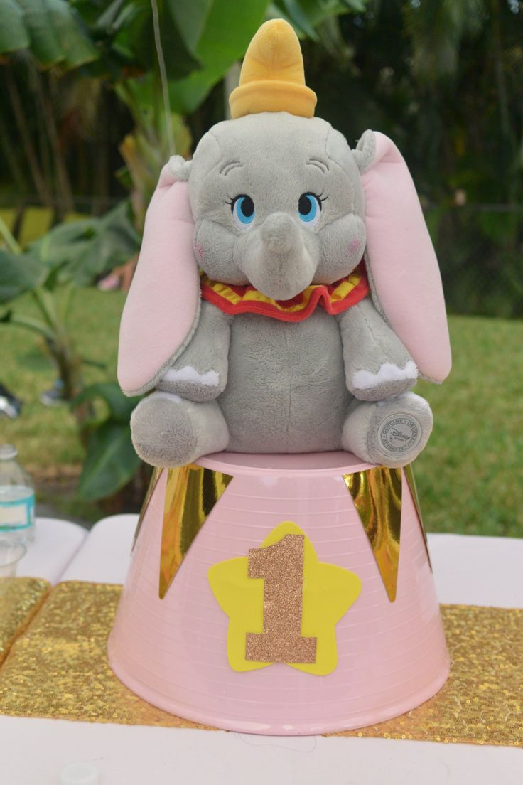 Dumbo birthday Prop/Centerpiece- Pastel pink and gold- 1st birthday- Circus party by PartyTimeMiami on Etsy