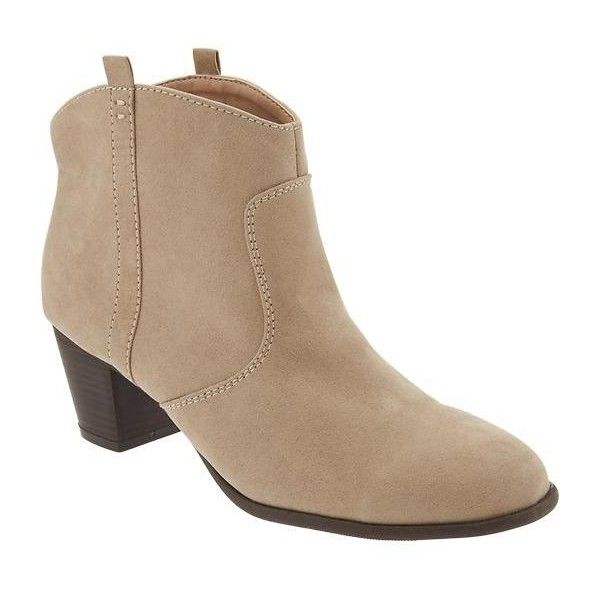 Old Navy Sueded Western Ankle Boots ($37) ❤ liked on Polyvore featuring shoes, boots, ankle booties, brown, short brown boots, western ankle boots, short cowboy boots, brown cowgirl boots and suede booties