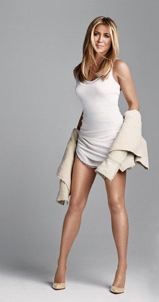 Jennifer Aniston banging white dress