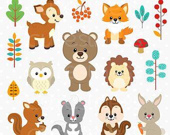 Woodland Animals Clip art and Digital paper von pixelpaperprints