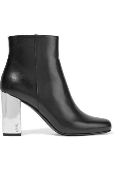 Saint Laurent - Babies Metallic-trimmed Leather Ankle Boots - Black - IT