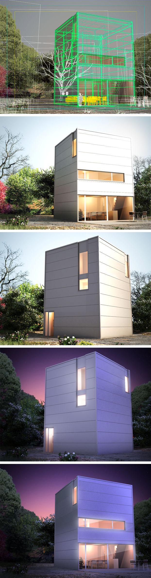 Illustration 3D: Tour métallique à faible consommation énergétique (Architecture)