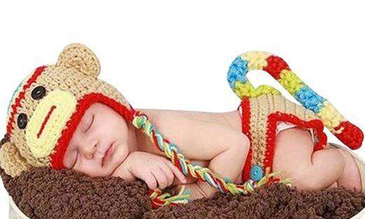 Jastore ®Affe Baby-Kostüm Windel Schuhe Fotografie Prop Süss Crochet häkeln Strickmütze Hut Cap Mädchen Jungen