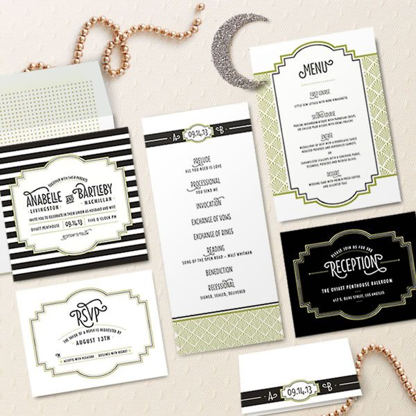 111 best wedding invitations images on pinterest wedding design your perfect wedding invitations art decogatsby style stopboris Gallery