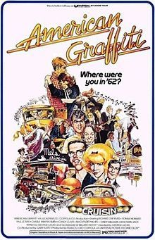 American Graffiti is a 1973 coming of age film co-written/directed by George Lucas starring Richard Dreyfuss, Ron Howard, Paul Le Mat, Harrison Ford, Charles Martin Smith, Cindy Williams, Candy Clark and Mackenzie Phillips.