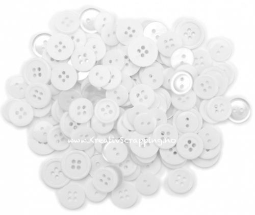 BUTTONS - BLUMENTHAL LANSING BB402 - WHITES (ca. 130 stk) Pakke med 130 stk assorterte knapper i fargen hvit.  BLUMENTHAL LANSING-Favorite Findings: Buttons. Paper crafts and fabrics crafts will take on a new light with these mini shapes buttons. Buttons can be attached using glue, tape, thread, ribbon and much more. Each package contains 130 buttons in a variety of sizes. Size and colors buttons vary by theme. Available in a variety of themes: each sold separately.