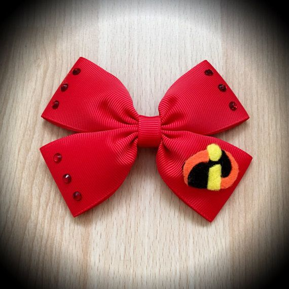 Incredibles Red Disney Pixar Character Inspired Hair Bow.  Red Grosgrain Ribbon Decorated with Felt Incredibles Logo and Red Rhinestones.  Mounted on an alligator clip.  I can do custom bows, just let me know if youd like something specific.  Price is for single bow.