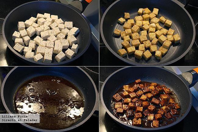 Tofu en salsa de ajo negro. Receta vegetariana. Pasos