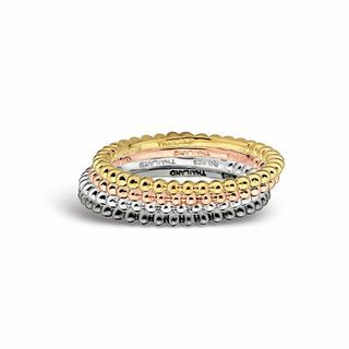 Zales Mens Beaded Texture Initial Ring in Sterling Silver and 14K Gold Plate (2 Initials) ga1twL
