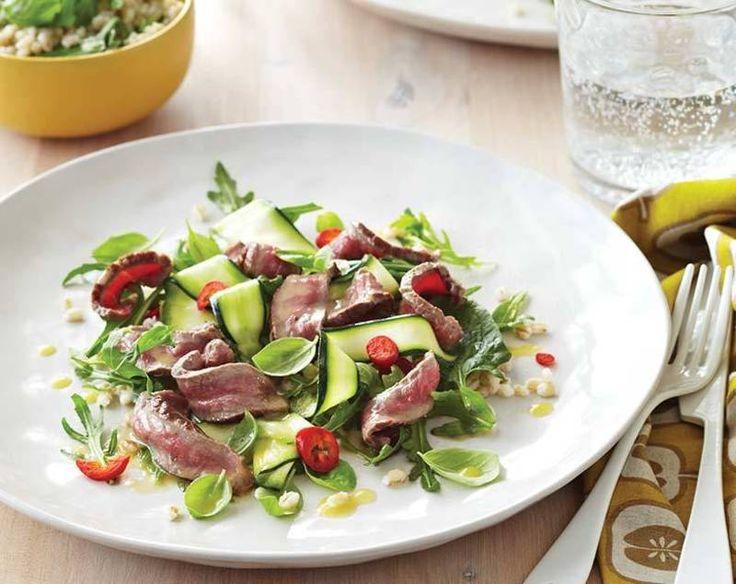 Sirloin Steak, Zucchini & Pearl barley Salad