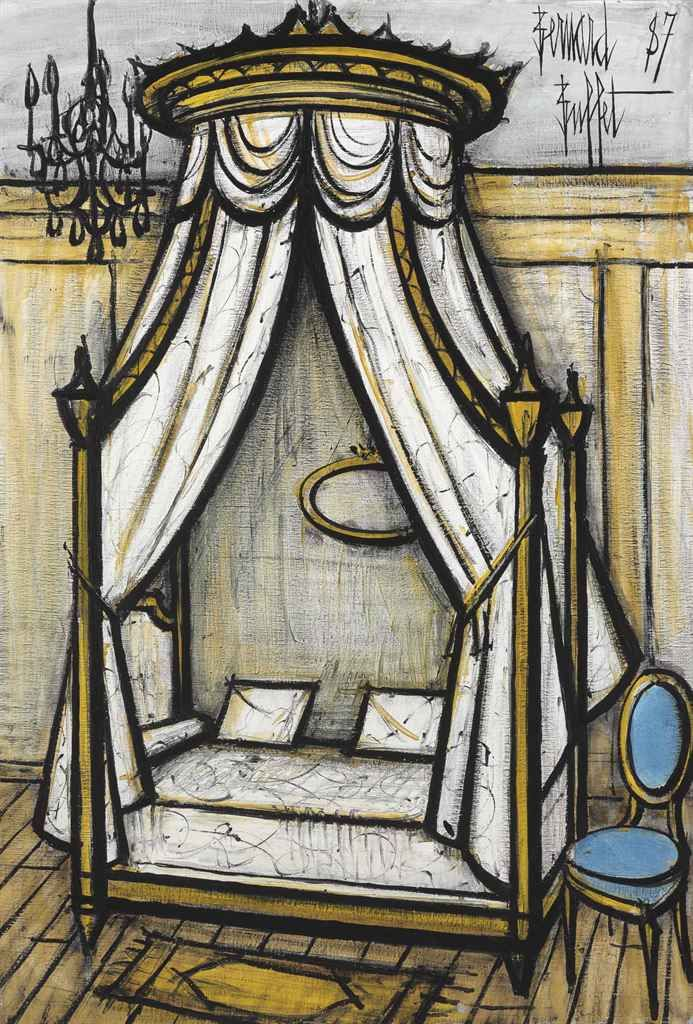 Bernard Buffet (1928-1999): Le lit blanc. Oil on canvas, signed and dated '87. Sold at auction by Christie's, 2014.