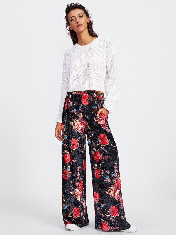 Shop Floral Velvet Palazzo Pants online. SheIn offers Floral Velvet Palazzo Pants & more to fit your fashionable needs.