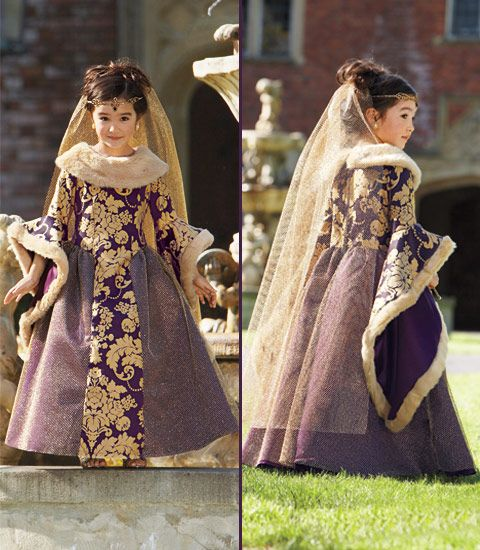 renaissance princess costume    Your little lady steps into the world of Camelot in this lavish costume. She reigns in a regal purple and gold brocade gown adorned with faux fur, mesh overlay and dramatic sleeves. Add her Tudor-style headpiece. Costume shown with petticoat.