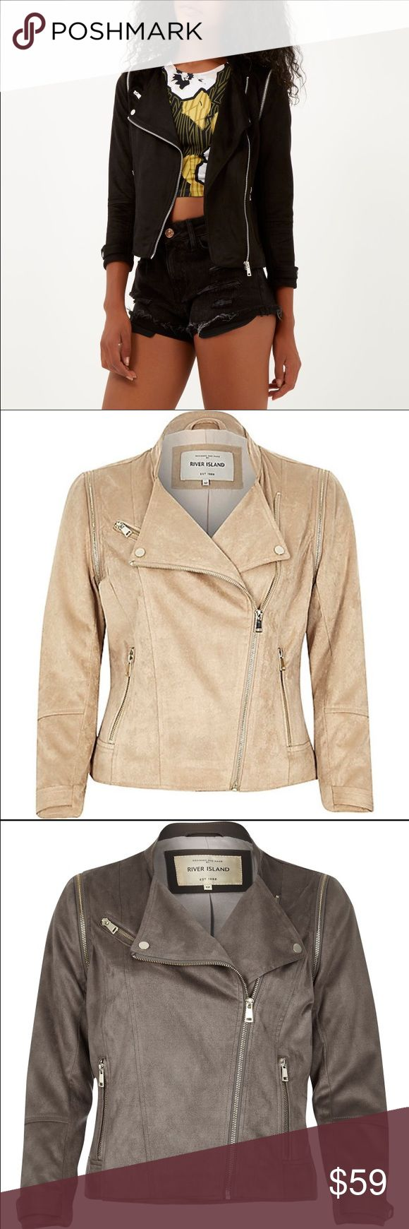 River Island faux suede biker jacket. This faux suede jacket is still on the River Island website originally retailing for $120, and marked down to $70! New without tags, never worn, US 2 UK 6. Perfect jacket to create a multitude of looks! River Island Jackets & Coats