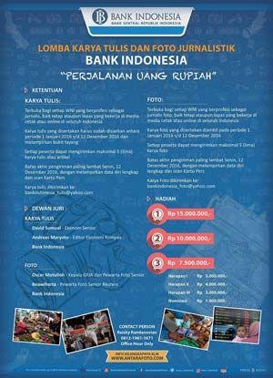 #LombaKaryaTulis #LombaFoto #Jurnalistik #BankIndonesia Lomba Karya Tulis dan Lomba Foto Jurnalistik Bank Indonesia 2016 Berhadiah Puluhan Juta Rupiah  DEADLINE: 12 Desember 2016  http://infosayembara.com/info-lomba.php?judul=lomba-karya-tulis-dan-lomba-foto-jurnalistik-bank-indonesia-2016-berhadiah-puluhan-juta-rupiah