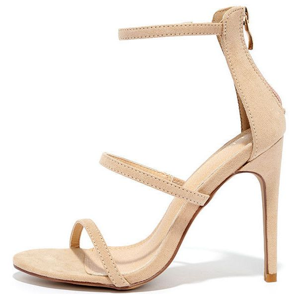Three Love Nude Suede Dress Sandals ($32) ❤ liked on Polyvore featuring shoes, sandals, heels, beige, peep toe sandals, suede sandals, strappy heel sandals, nude sandals and high heel shoes