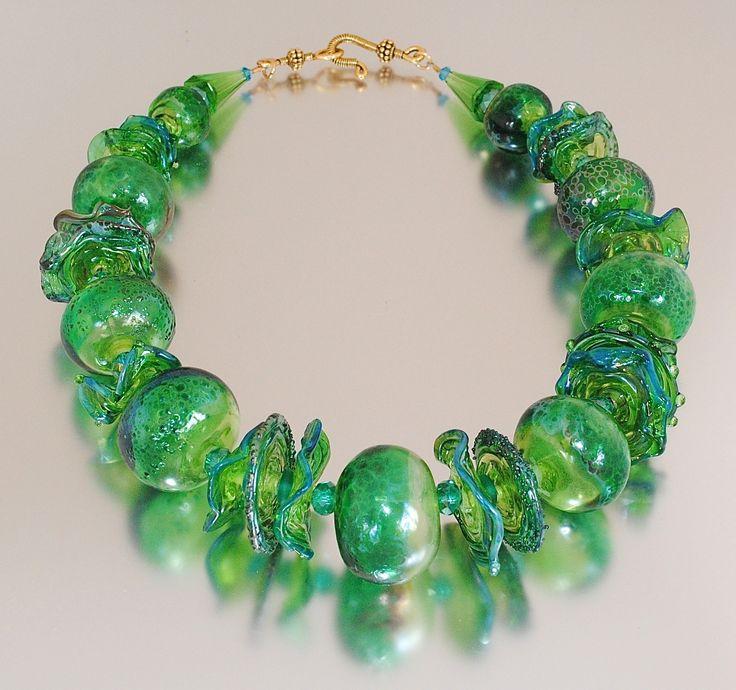 Sea Garden Handmade Hollow Glass Bead Necklace